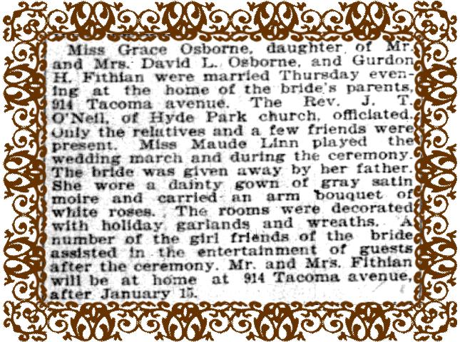 Wedding Announcement for Grace Osborne
