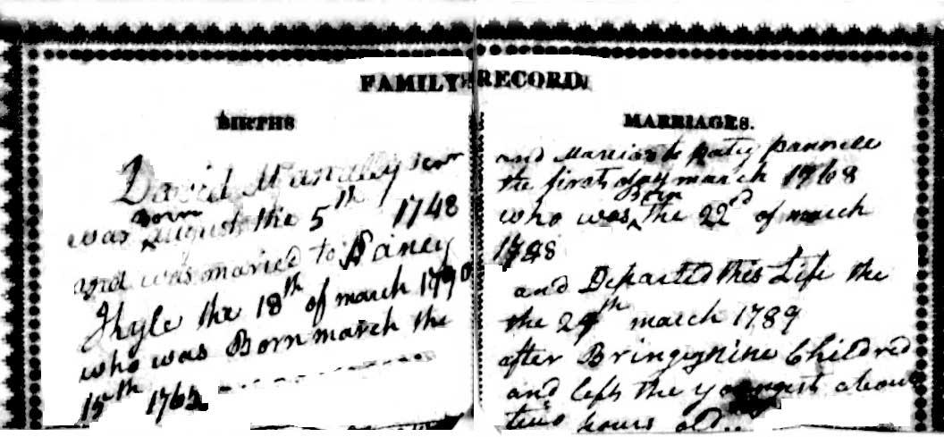 Family Bible Record McAnally