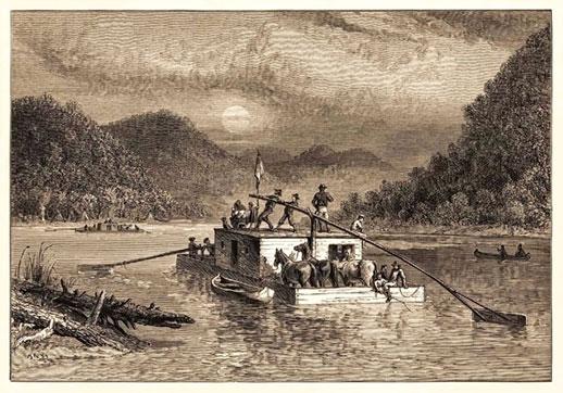 Flatboat on Ohio River
