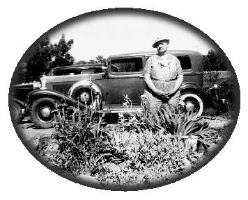 Aunt Grace, garden and 1933 Auburn