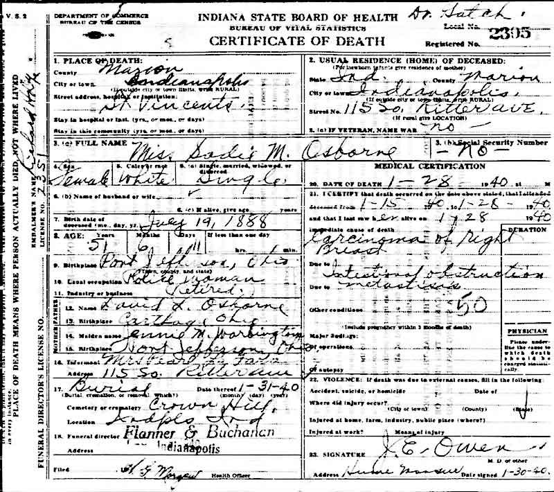 Sadie Osborne death certificate